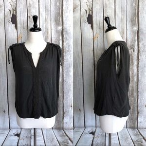 Lucky Brand Shoulder Shirring Mixed Media Top